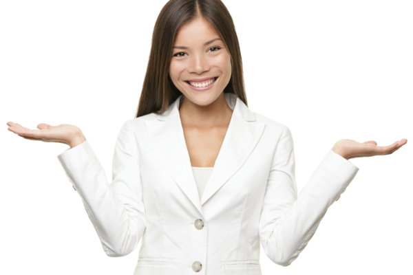 Showing business woman with empty copy space for two products with open hand palms. Businesswoman in white suit isolated on white background. Happy smiling multiracial Chinese Asian / Caucasian female model.